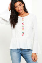 LuLu*s Tickets to Cancun Embroidered Ivory Top