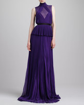 Jason Wu Swiss Dot-Inset Pleated Peplum Gown, Violet