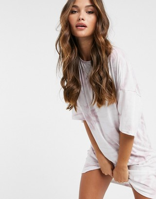 Street Collective relaxed sleeve t-shirt dress in tie dye