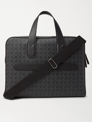Dunhill Leather-Trimmed Logo-Print Coated-Canvas Briefcase - Men - Black