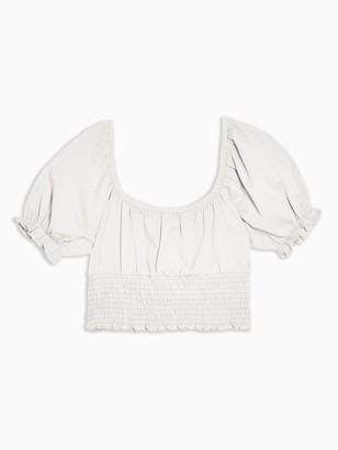 Topshop Shirred Waist Puff Sleeve Top - White