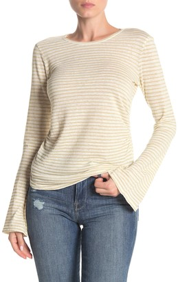 Frame Shirred Bell Sleeve Stripe Print Linen Blend T-Shirt