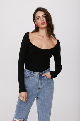 Nasty Gal Womens Talking Body Tailored Knitted Bodysuit - Black