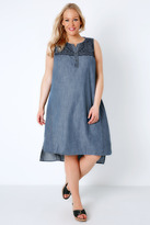 Yours Clothing Blue Denim Embroidered Sleeveless Dress With Step Hem