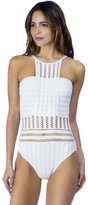 Kenneth Cole New York Kenneth Cole Women's Tough Luxe High Neck Mio One Piece Swimsuit-XL