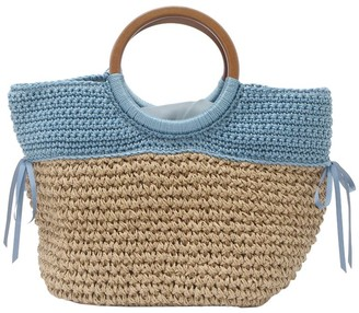 Un Billion UN Billion Burlap Tote Bag with Wooden Handles- Sienna