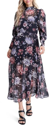 En Saison Long Sleeve Floral Chiffon Midi Dress