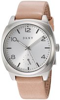 DKNY Women's 'Broome' Quartz Stainless Steel and Leather Casual Watch, Color:Brown (Model: NY2535)