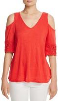 Red Haute Cold-Shoulder Crochet-Sleeve Top