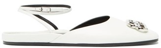 Balenciaga Bb Logo-plaque Ankle Strap Leather Ballet Flats - Womens - White Silver