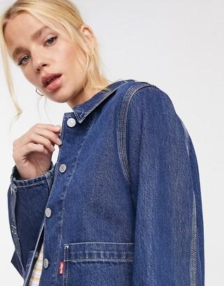 Levi's utility denim jacket in mid wash blue
