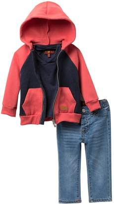 7 For All Mankind V-Neck, Colorblock Hoodie, & Jeans 3-Piece Set (Baby Boys)