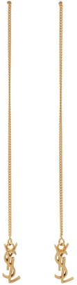 Saint Laurent Gold Long Threader Monogramme Earrings