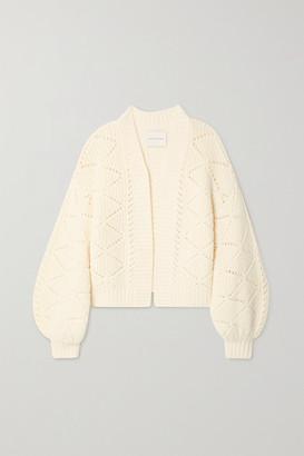 KING & TUCKFIELD Pointelle-knit Merino Wool Cardigan - Cream