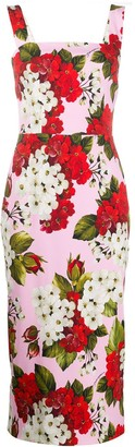 Dolce & Gabbana Fitted Floral Midi Dress