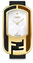 Fendi Chameleon Diamond, Mother-Of-Pearl, Goldtone stainless Steel & Leather Strap Watch/Black