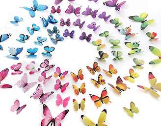 Mural eoorau 60PCS Butterfly Wall Decor for Wall-3D Butterflies Wall Stickers Removable Decals Home Decoration Kids Room Bedroom Decor (5Colors)