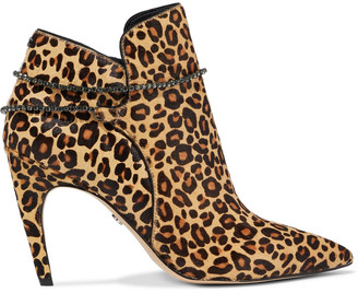 Sam Edelman Florie Crystal-trimmed Leopard-print Calf Hair Ankle Boots
