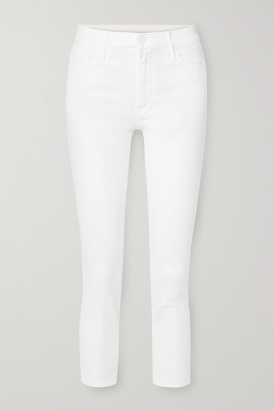 Mother The Looker Cropped High-rise Skinny Jeans - White