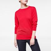 Paul Smith Women's Coral Merino Wool Sweater With Fuchsia Collar