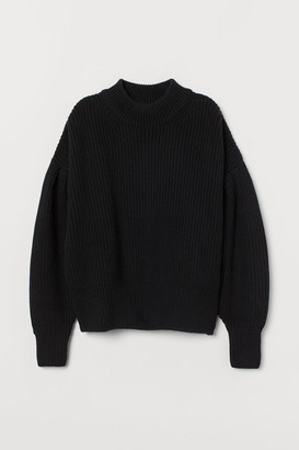 H&M Balloon-sleeved Sweater - Black