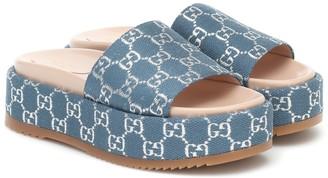 Gucci GG lame jacquard slides