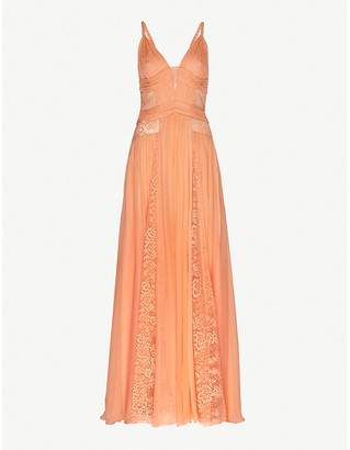 ZUHAIR MURAD Lace-trimmed silk-chiffon gown