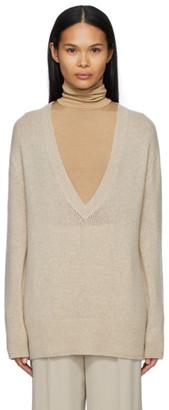 The Row Taupe Cashmere Baudelia V-Neck Sweater