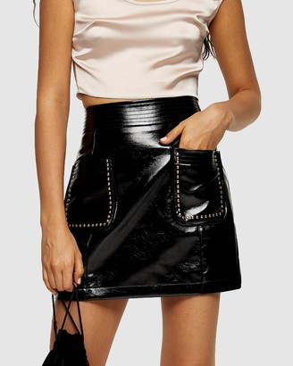 Topshop Vinyl Stud Pocket Mini Skirt