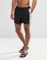 Asos Short Length Swim Shorts In Black With Metallic Silver Panels