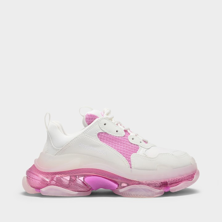 Balenciaga Triple S Clear Sole Sneakers In White And Pink Knit And Leather