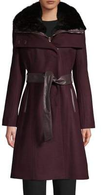French Connection Faux Fur-Trim Wool-Blend Coat