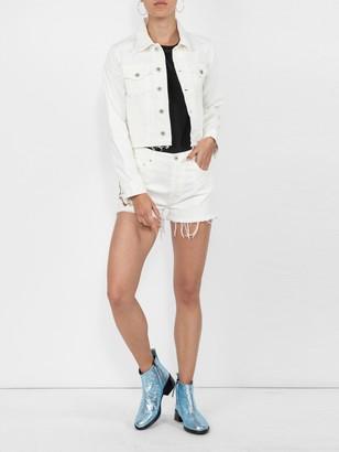 Off-White Cropped Denim Shorts