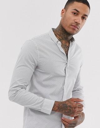 Armani Exchange ditsy print long sleeve logo shirt in white