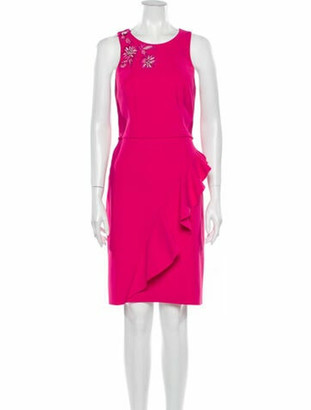Marchesa Notte Scoop Neck Knee-Length Dress w/ Tags Pink