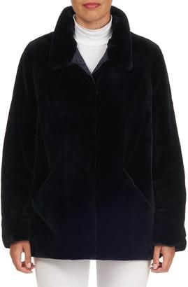 Zac Posen Reversible Sheared Mink Fur Wool-Blend Jacket