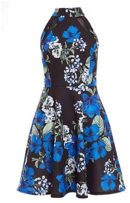 Dorothy Perkins Womens Quiz Multi Coloured Floral Print High Neck Skater Dress, Multi