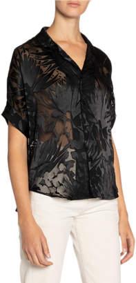 Saint Laurent Floral Burnout Oversized Button-Front Shirt
