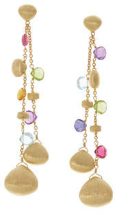Marco Bicego Paradise Double Drop Earrings with Mixed Gemstones