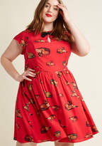 FA17MCD1394A Retro frocks just don't get more darling than this red dress - a proud part of our ModCloth namesake label! Once you slip into this A-line's cap sleeves - positioned on either side of its black bow and adorable keyhole - its princess seams, and its precio