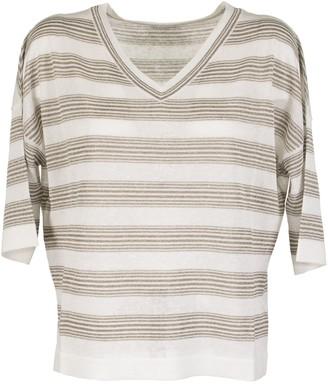 Brunello Cucinelli V-neck Sweater Sparkling Stripes Sweater In Linen
