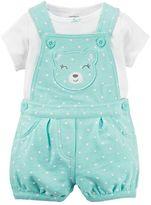 Carter's Baby Girl Tee & Polka-Dot Shortalls Set