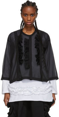 Comme des Garcons Black Thin Three-Ruffle Crewneck Sweater