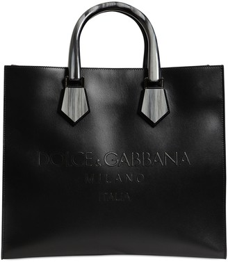 Dolce & Gabbana Logo Embossed Leather Tote Bag