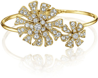 Maria Canale Aster 18K Yellow Gold Hinged Blossom Bracelet with Diamonds