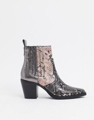 Steve Madden Geniva heeled western boot in metallic multi