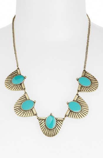 Stephan & Co 'Aztec' Statement Necklace Gold/ Turquoise