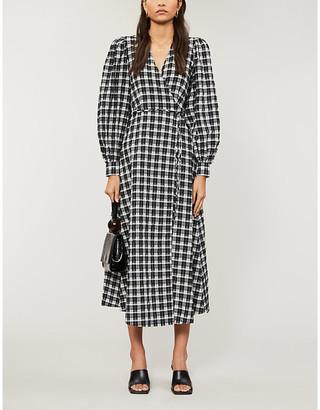 Ganni Gingham cotton-blend seersucker maxi wrap dress
