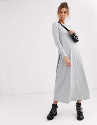 Asos Design DESIGN long sleeve maxi t-shirt dress-Grey
