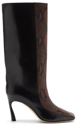 Jimmy Choo Mabyn 85 Snake-effect Leather Knee-high Boots - Black Tan